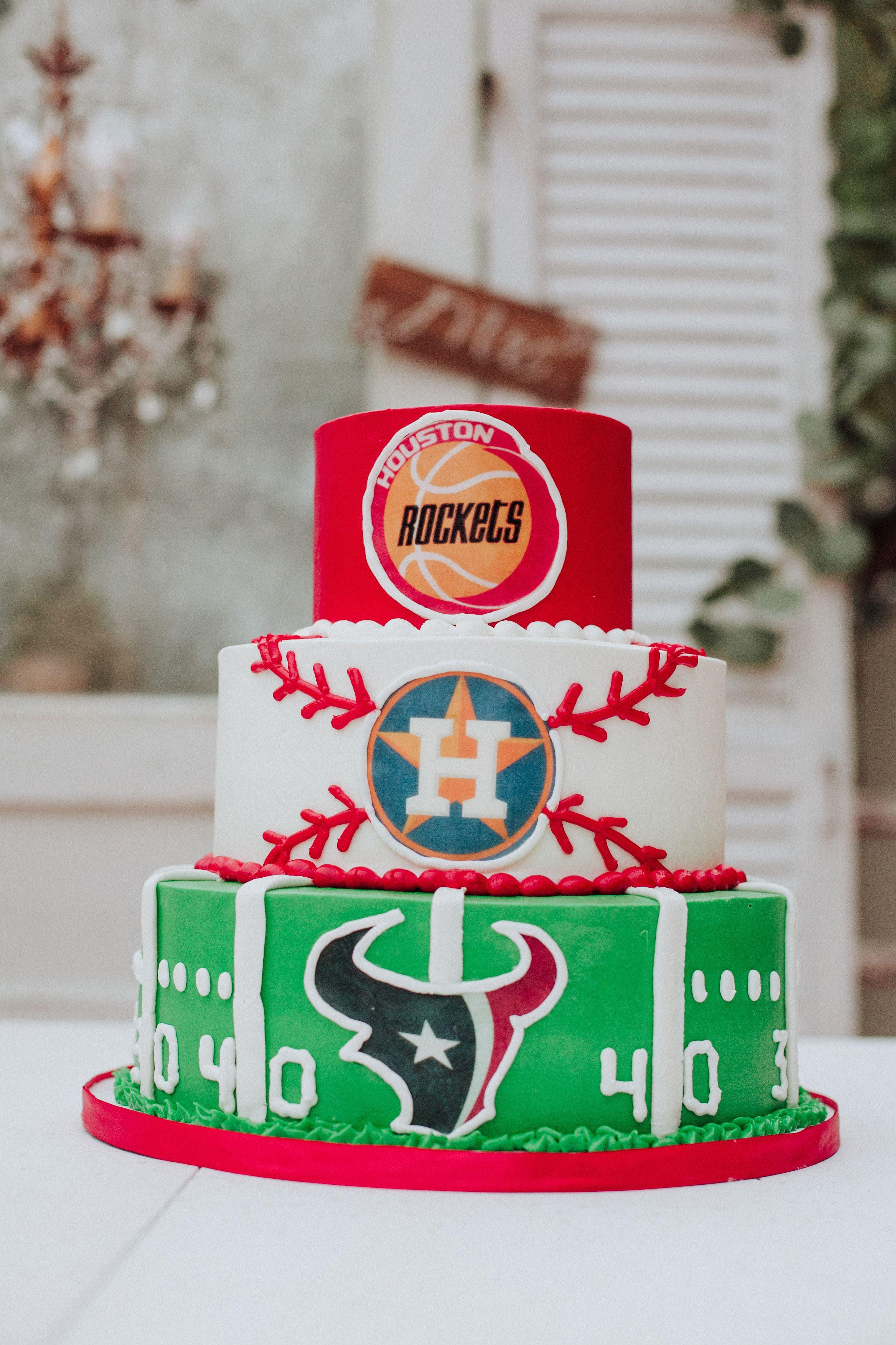 Houston grooms men cake fletcherwedding houston rockets
