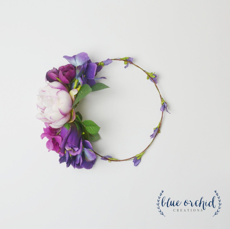 Silk Flower Crown Large Flower Crown Chunky Flower Crown Purple
