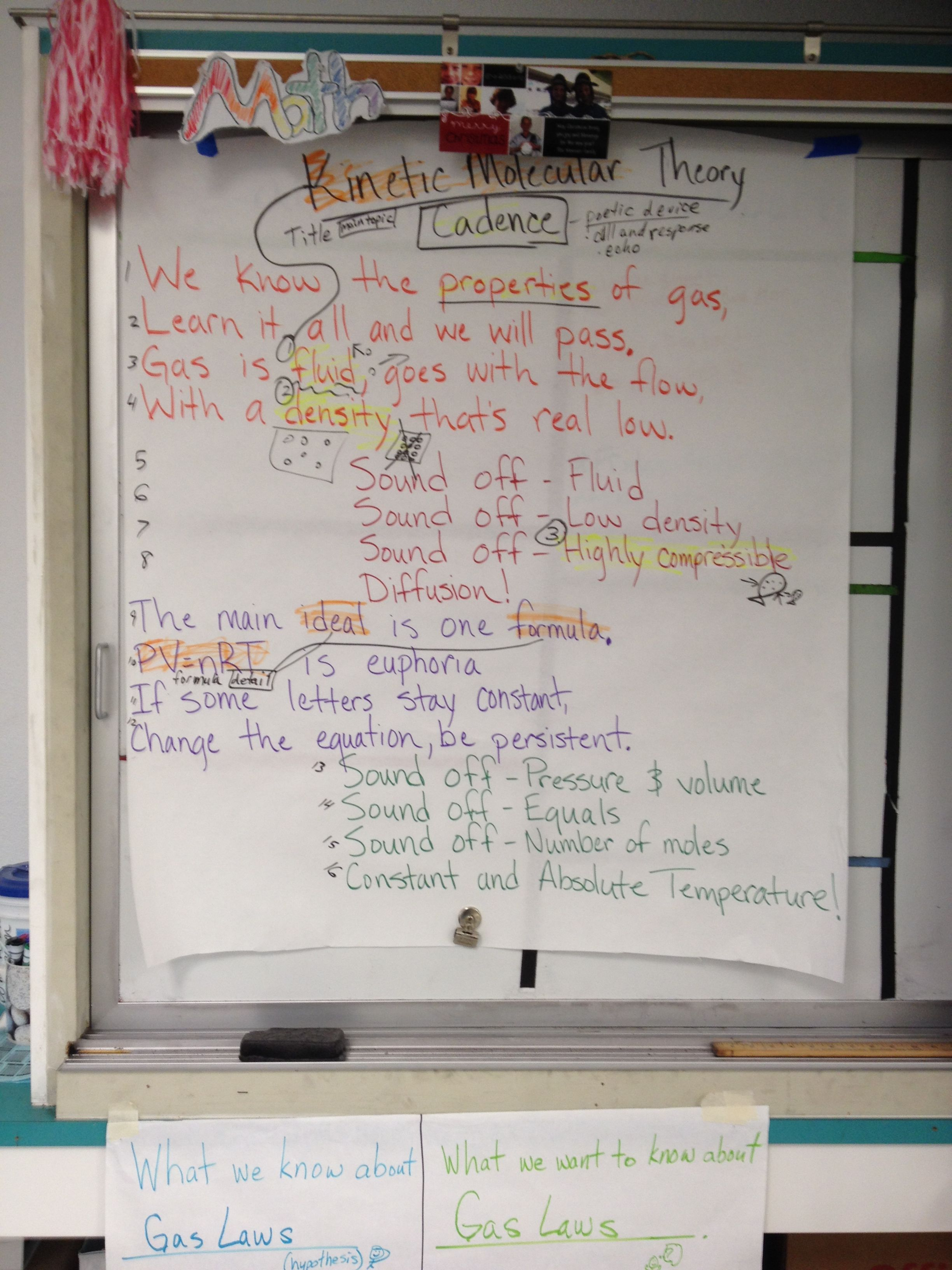 Kinetic Molecular Theory Poem Guided Oral Practice Pinterest