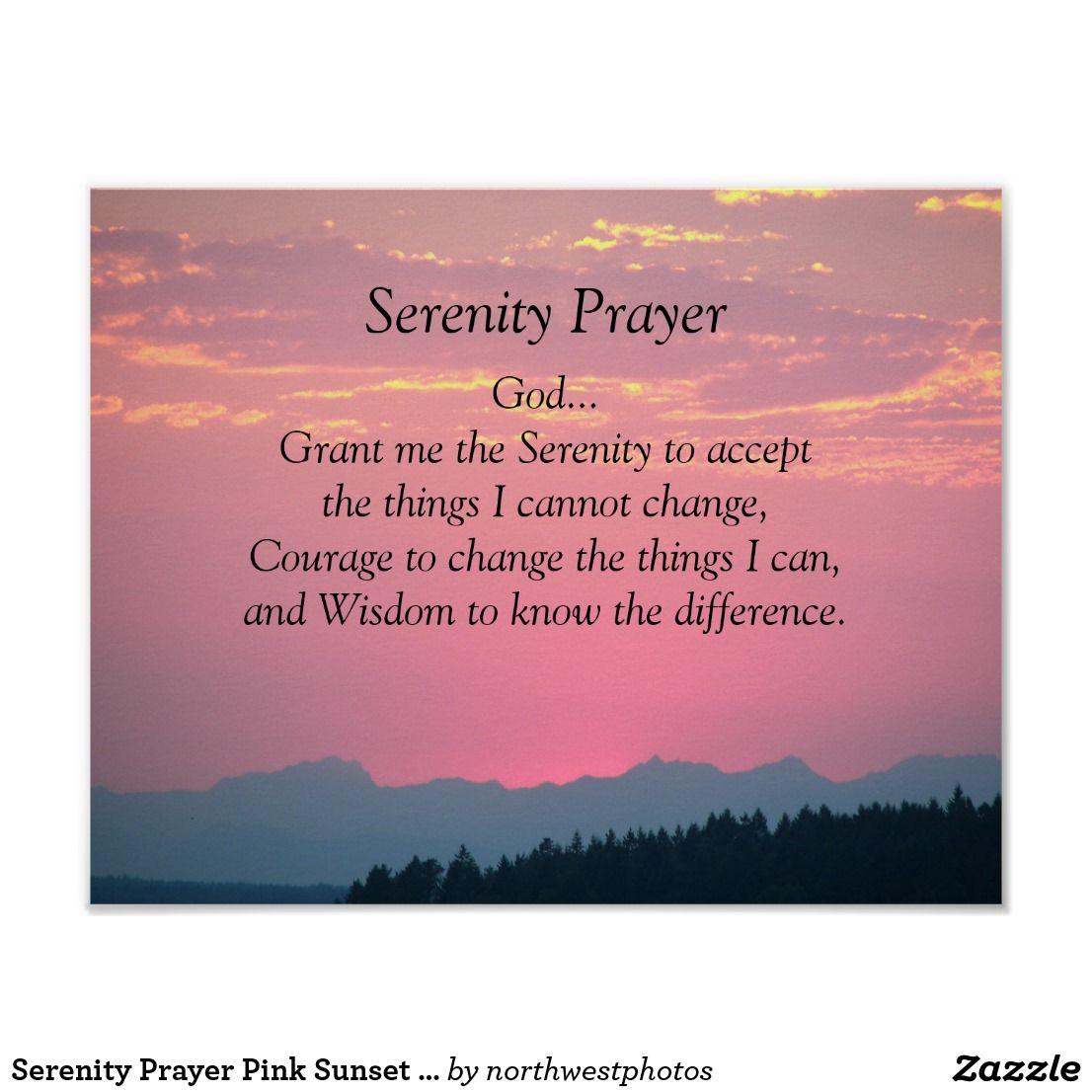 Serenity Prayer Pink Sunset Photographic Poster