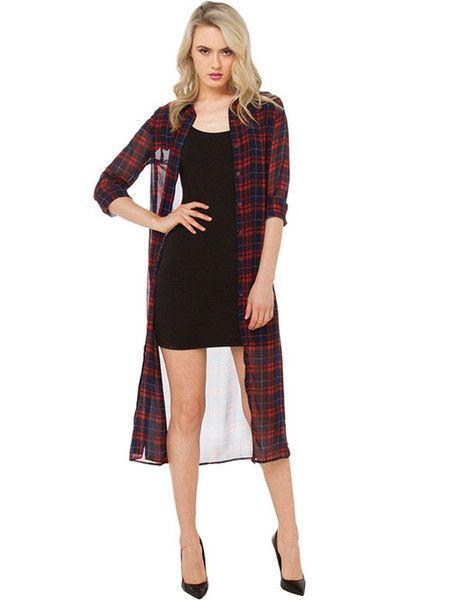 Stylish Contrast Color Plaid Fashion Casual Shirt Dress