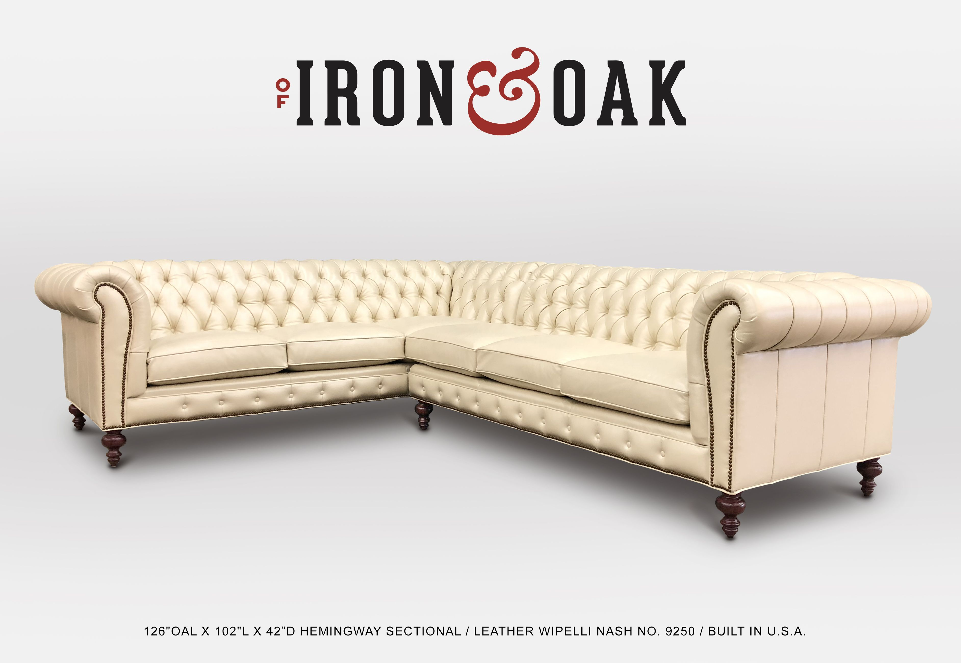 Chesterfield Sectional Sofa Of Iron And Oak S Exclusive Hemingway Chesterfield Sectional Sofa