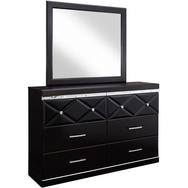 Signature Design by Ashley Fancee Black Dresser-mirror Combination