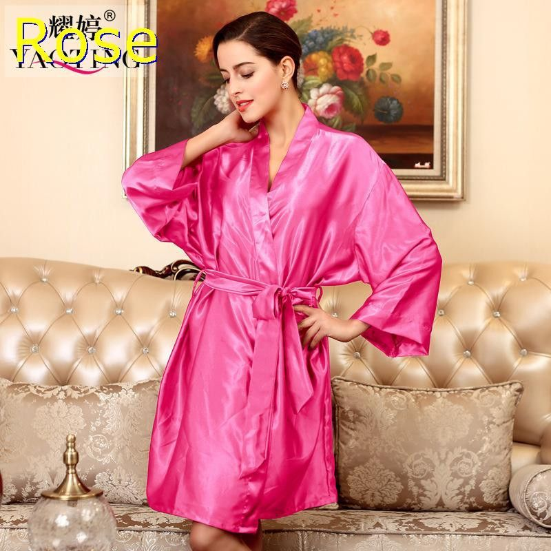 YT009 Summer Sexy Silk Satin Robe Bathrobe Dressing Gowns For Women Perfect  Bridesmaid Robes Nightgown Fashion Hen Party Robes 70c133a9c