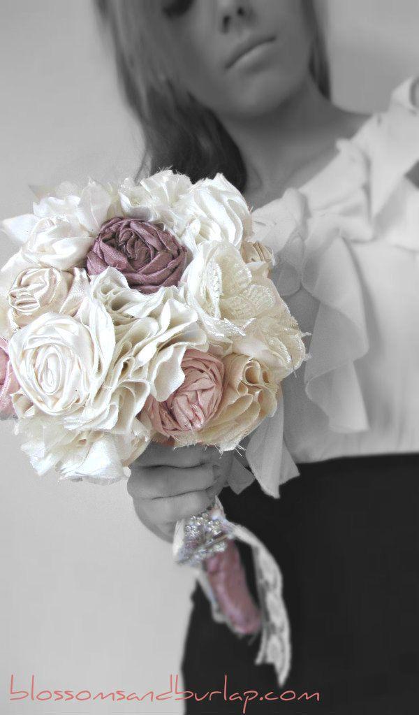 Fabric Flower Bouquet - Handmade - Fabric Bouquet - Silk - Rose - Vintage - Brooch