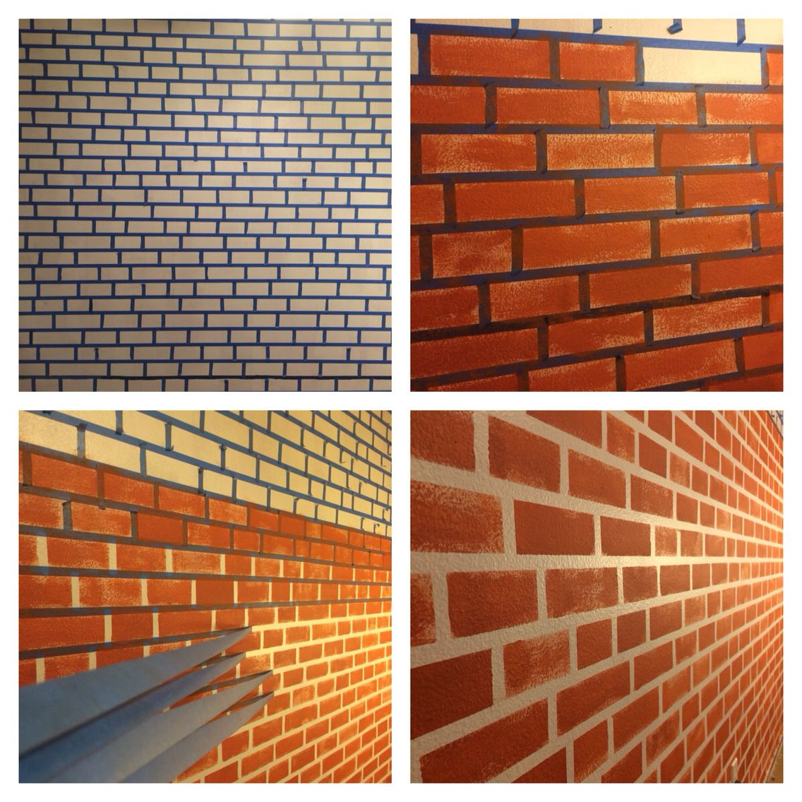 Make your fake brick wall just by using blue tape and paint.