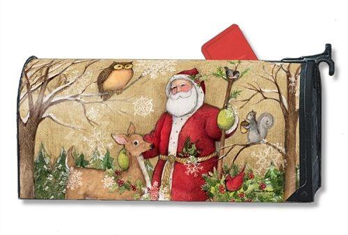 Magnet Works Mailwraps Mailbox Cover - Woodland Santa Design Magnetic Mailbox C