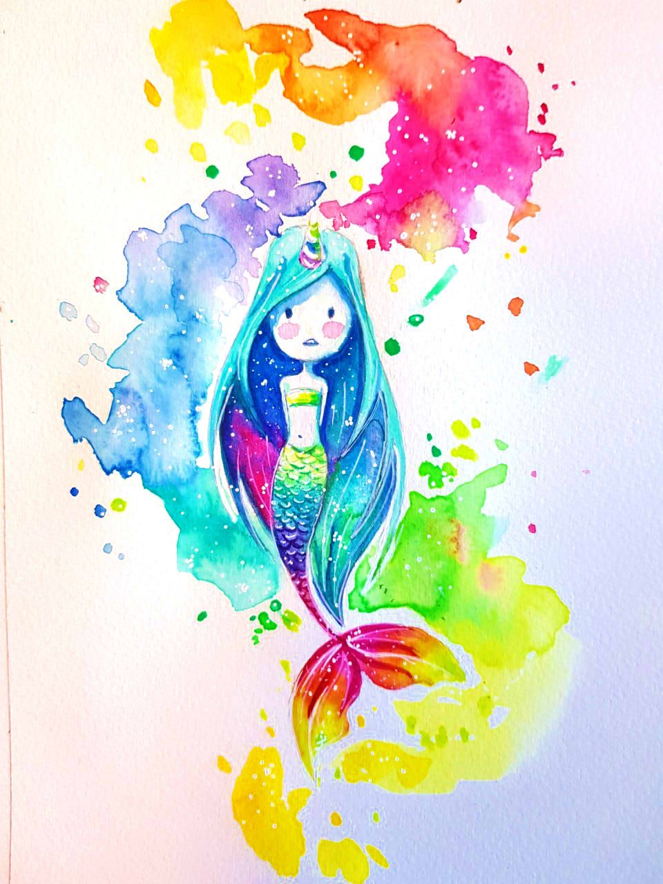 Illustration Aquarelle Sirene Licorne Arc En Ciel Watercolor