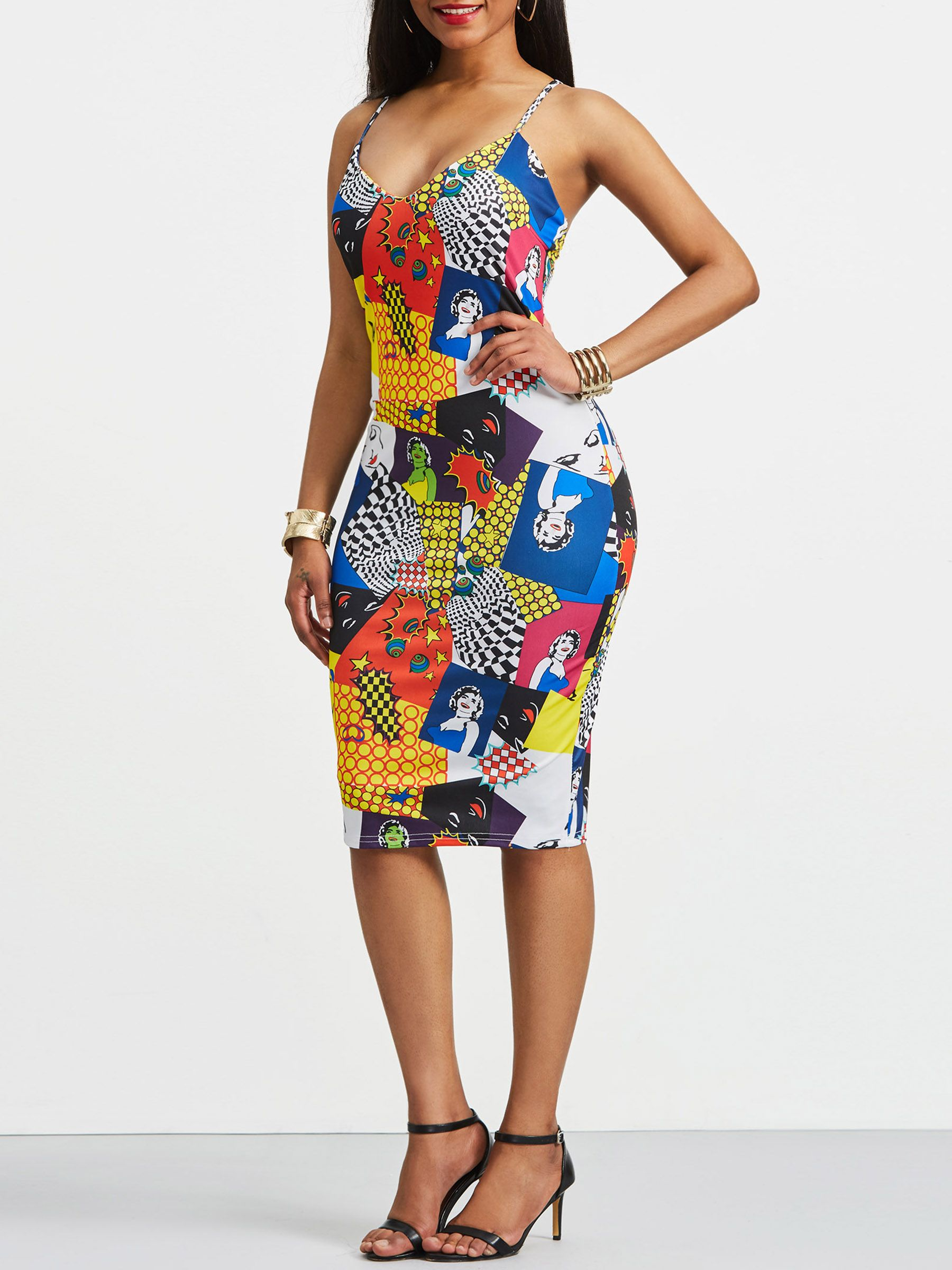 Ericdress Spaghetti Strap Print Pullover Bodycon Dress Backless Bodycon Dresses Dresses African Fashion Dresses [ 2400 x 1800 Pixel ]