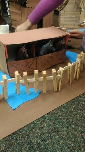 Shoebox Horse Stable With Clothespin And Popsicle Stick