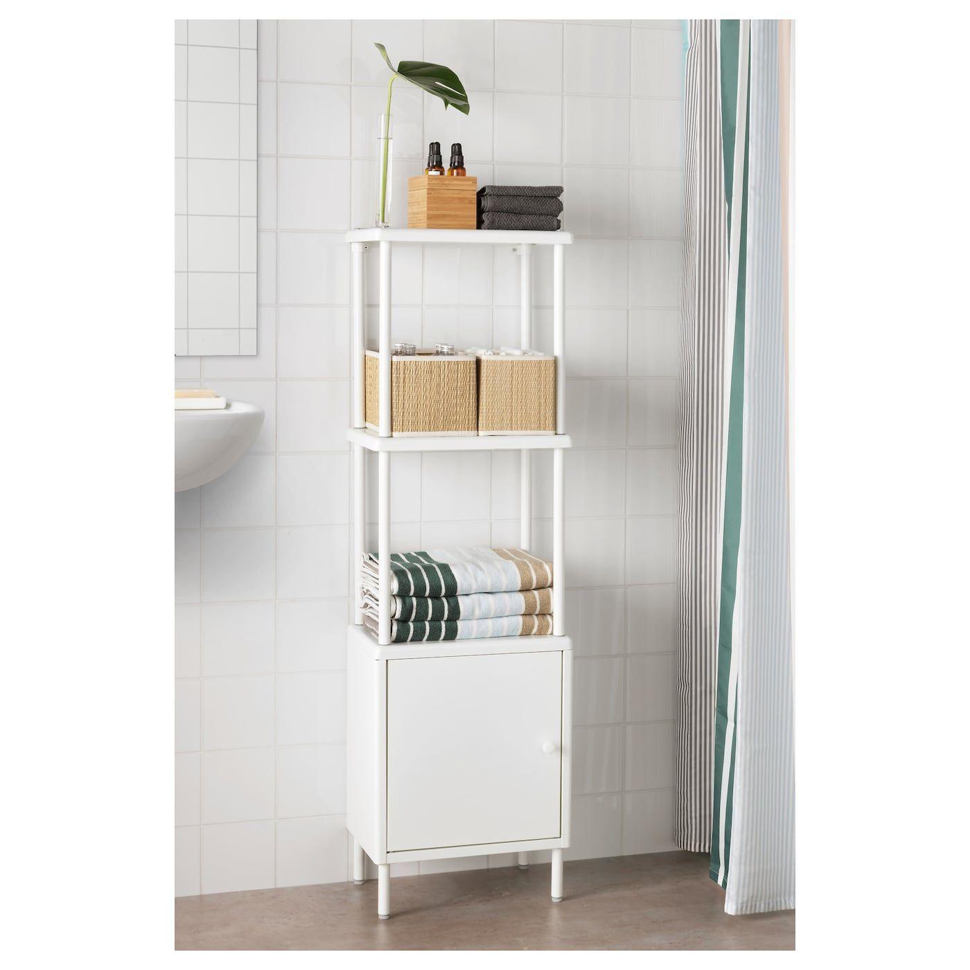 Dynan Shelving Unit With Cabinet White 40x27x134 Cm Ikea Skapdorrar Litet Badrum Ikea