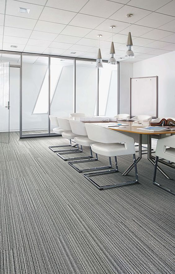 Add A More Professional And New Look To Your Office Interface Modular Carpet Tile Silver Linings Grey Line Modern Floorin