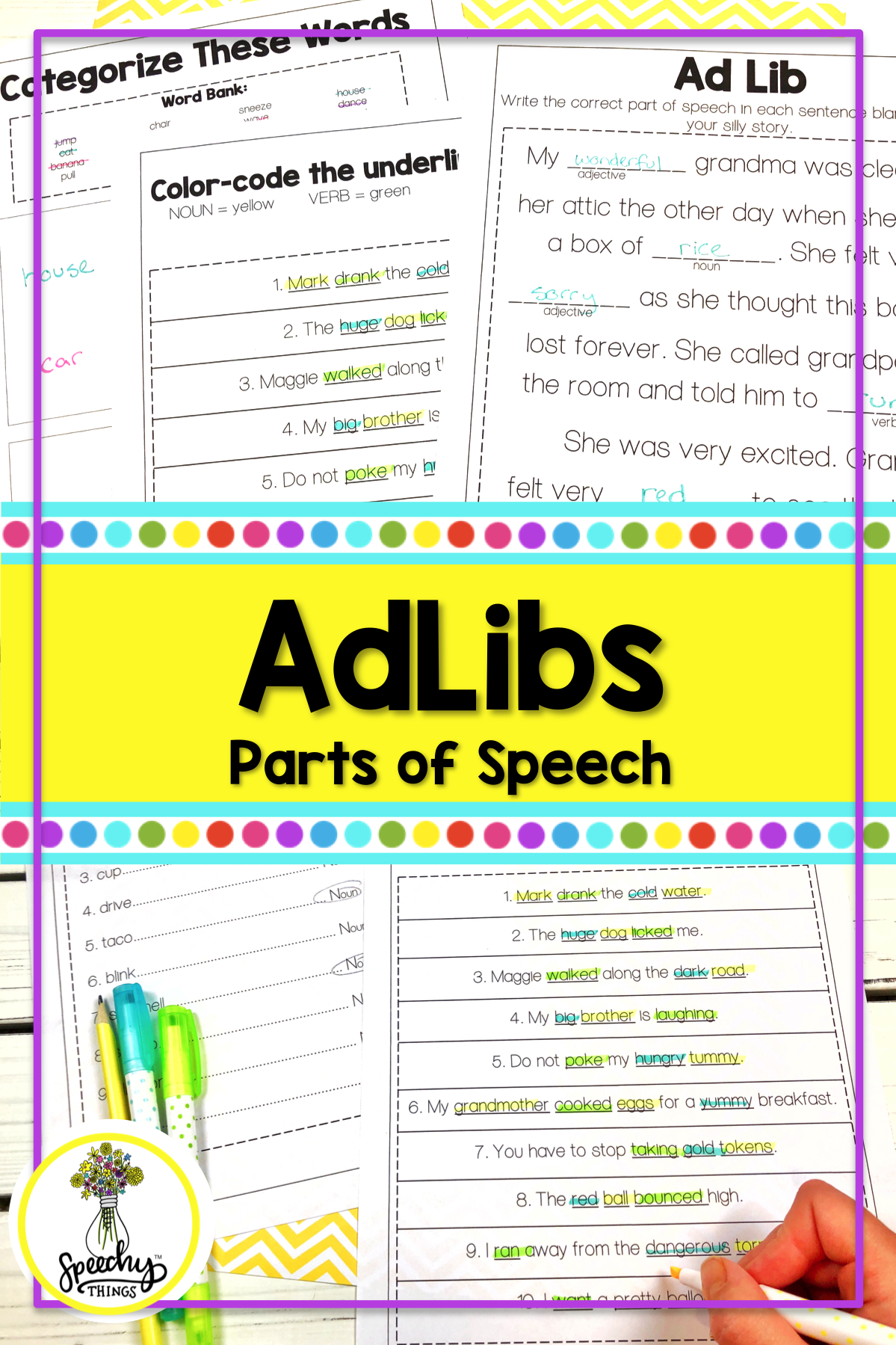 Parts Of Speech Grammar Worksheets