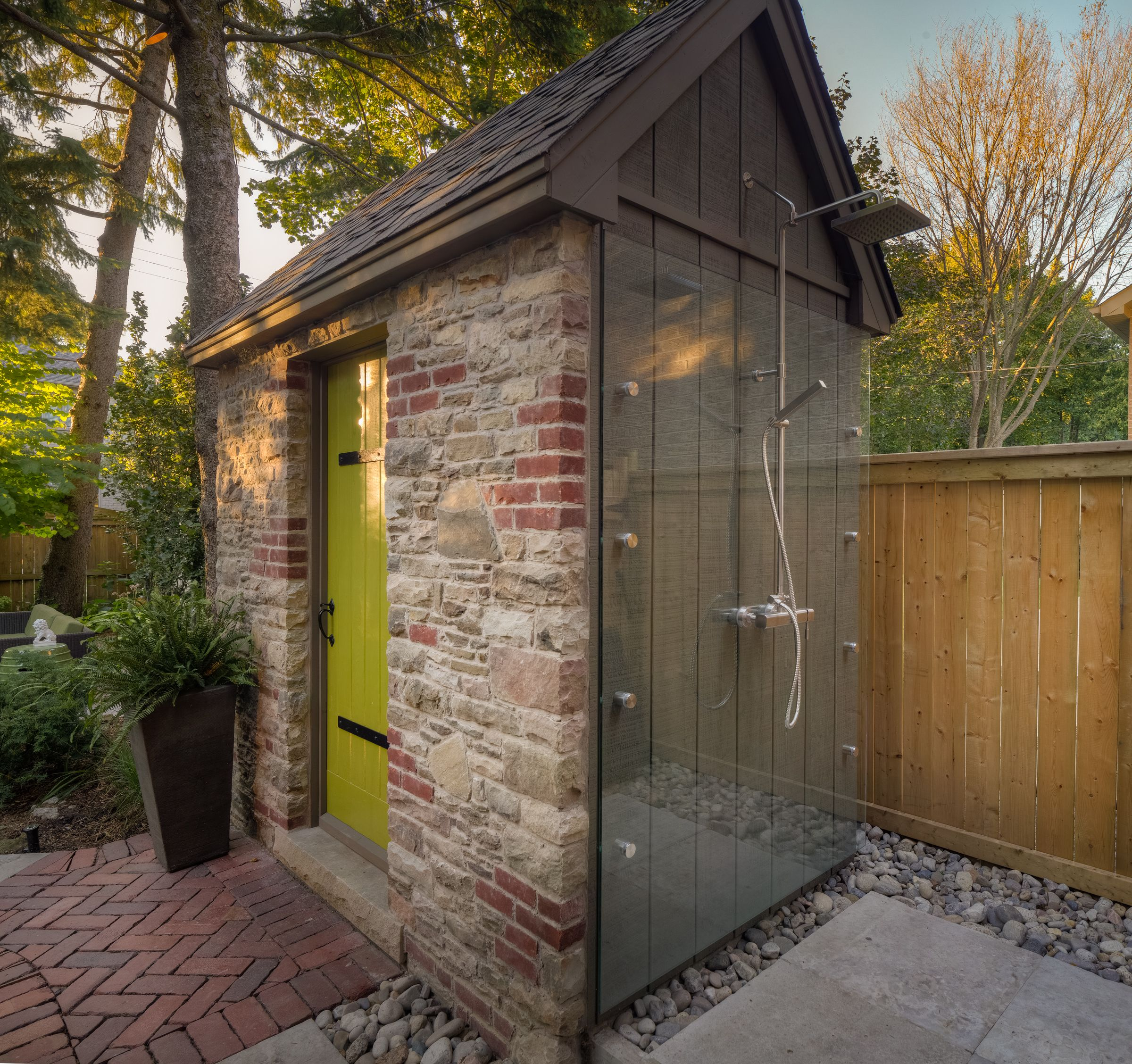 A gorgeous outdoor shower, and stone change room. # ...