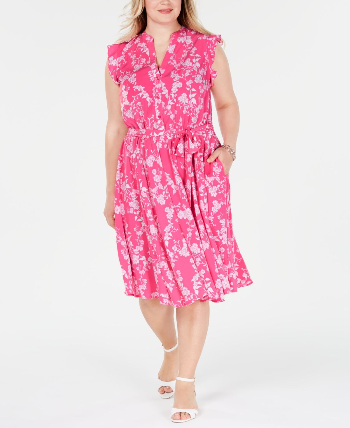Plus Size Belted Floral-Print Dress, Created for Macy's