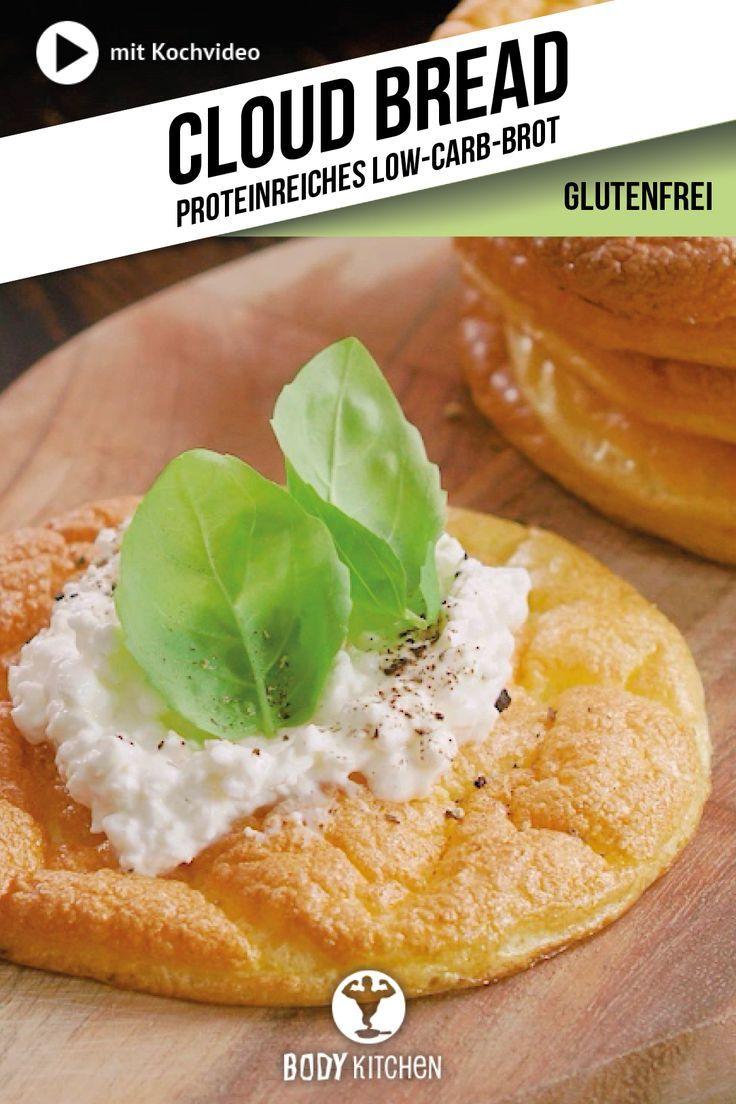 Proteinreiches Cloud Bread mit körnigem Frischkäse.  #eiweißreich #fitness #backen #einfach #veggie