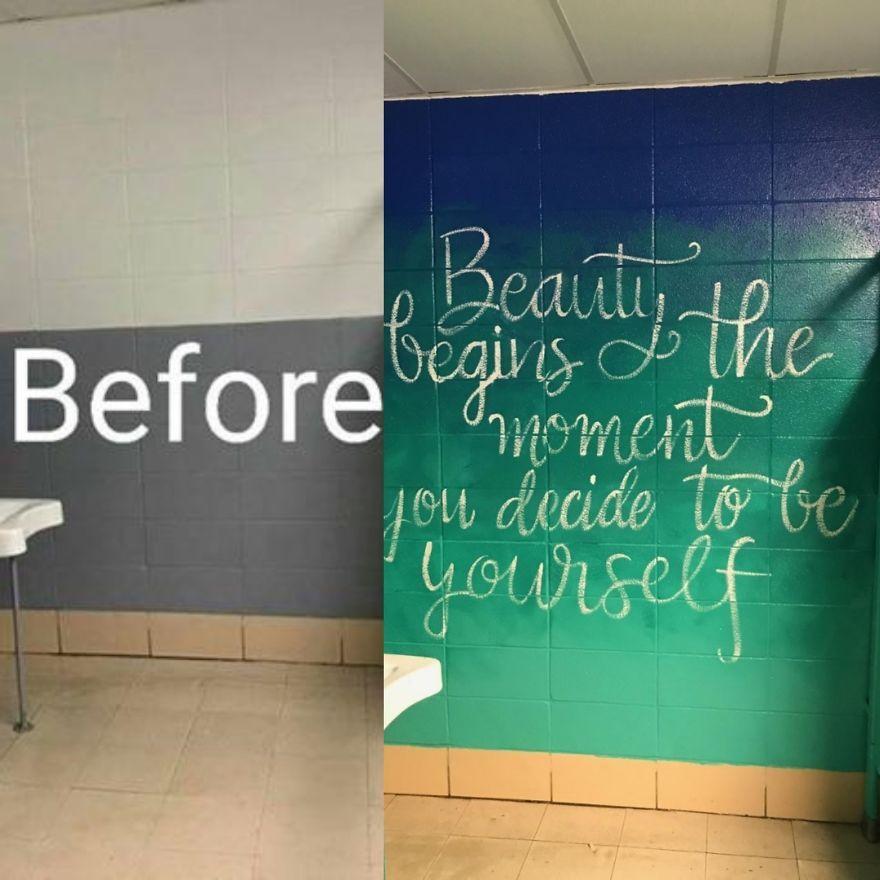 Nurse Turns Middle School Bathroom Into An Inspiring Work