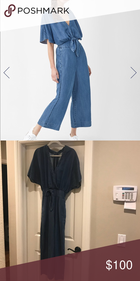 0360e0b1a6d4 Splendid Chambray Jumpsuit Relaxed romper cut from ultra-soft chambray in  medium indigo wash.