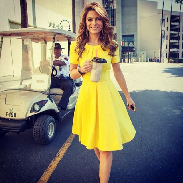 beautiful. Bright yellow, box pleats, sleeves, knee length. So, so good.