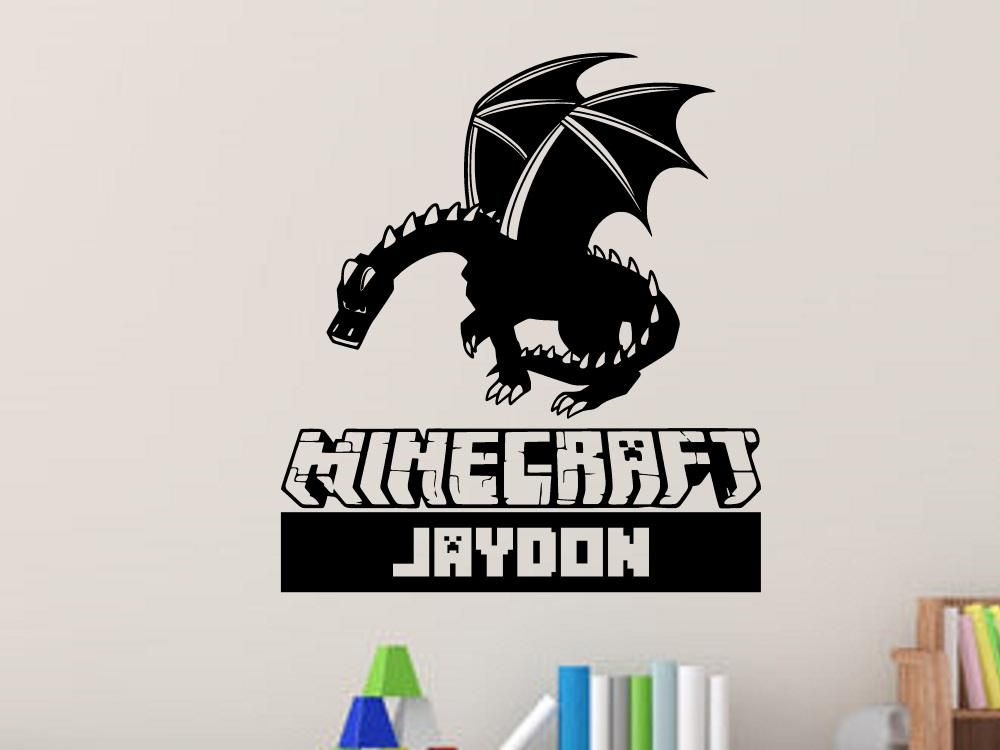 Minecraft Ender Dragon Personalized Vinyl Wall Decal ...