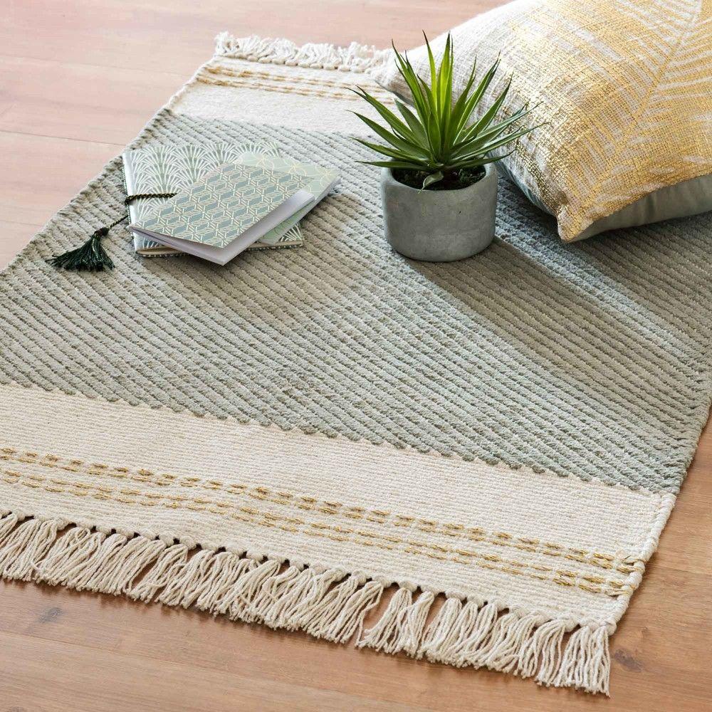 Tapis en coton brodé écru et vert 60x90 | MAISON | Rugs, Rug texture ...