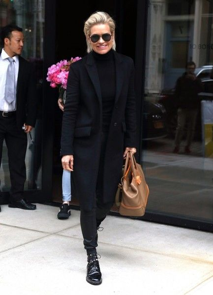 e6e6765ff7 Yolanda Hadid Wool Coat - Yolanda Hadid kept it subdued in an all-black  coat