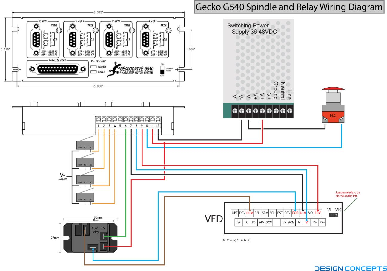 G540 Spindle and Relay Wiring Diagram | CNC & Workshop
