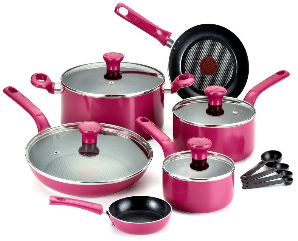 kitchen pots microwave cabinet tfal 14 set cookware nonstick dishwasher oven safe pan pot chef piece non stick hot pink price drop 65 99