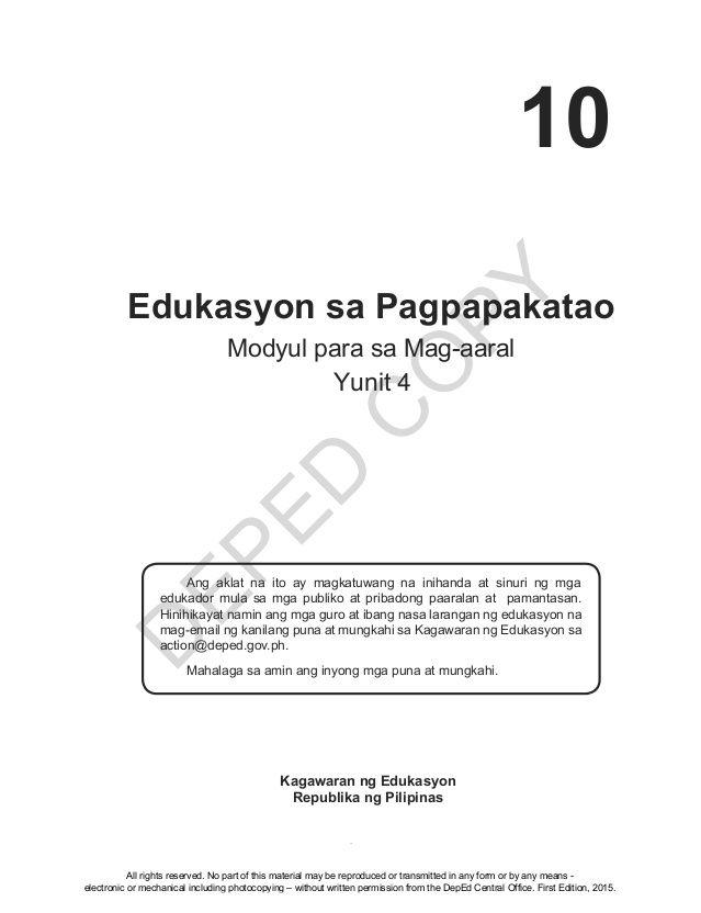 D EPED C O PY 1 Edukasyon sa Pagpapakatao Modyul para sa Mag