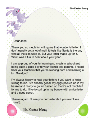 This Free Printable Easter Bunny Letter Is A General Response To
