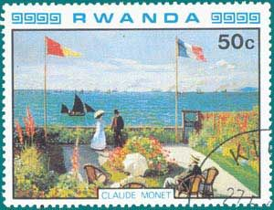 Art by Claude Monet on postage stamp from Rwanda  stamps with Monet pictures - Google Search