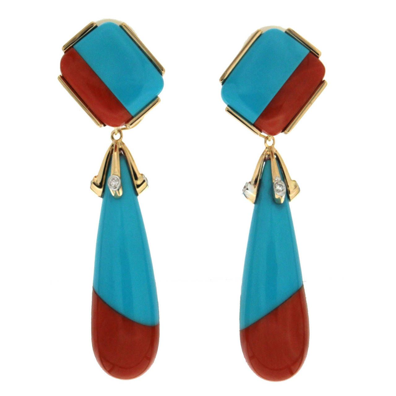 Turquoise Coral Diamond Gold Drop Earrings