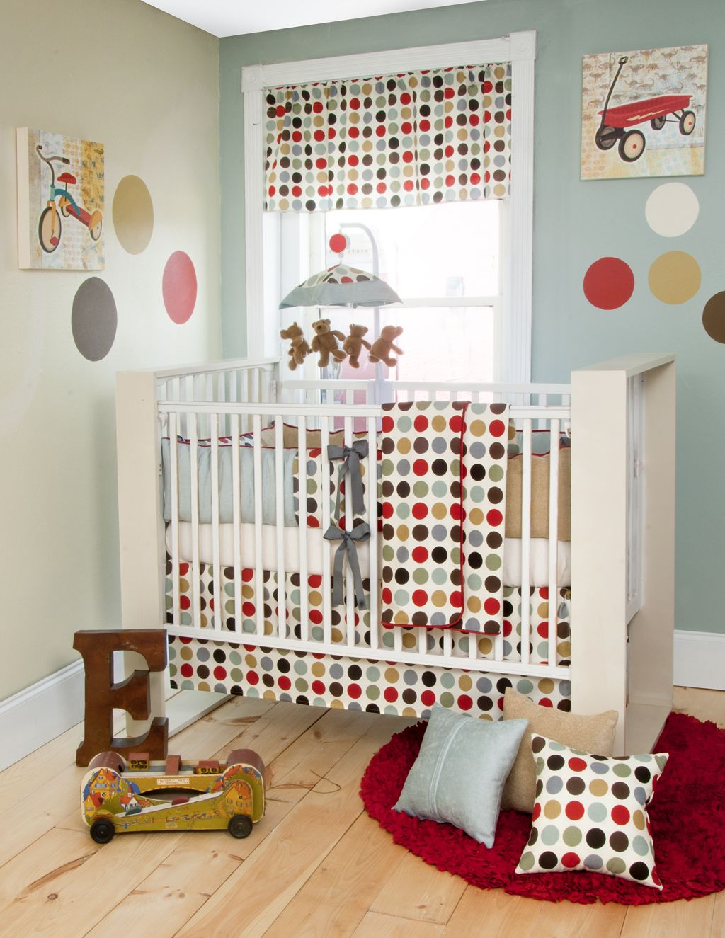 Red And Blue Nursery Glenna Jean Cooper Crib Bedding Brown Polka Dot