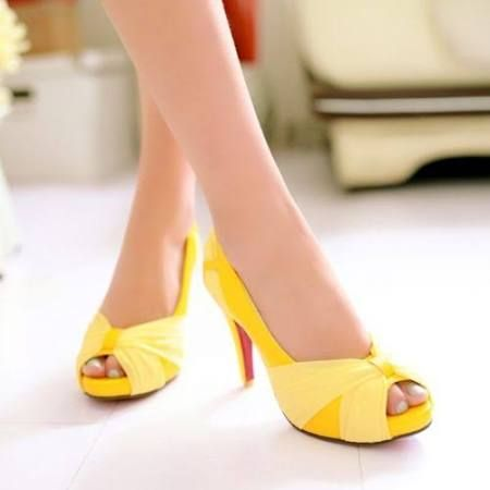 yellow leather peep toe pumps - Google Search