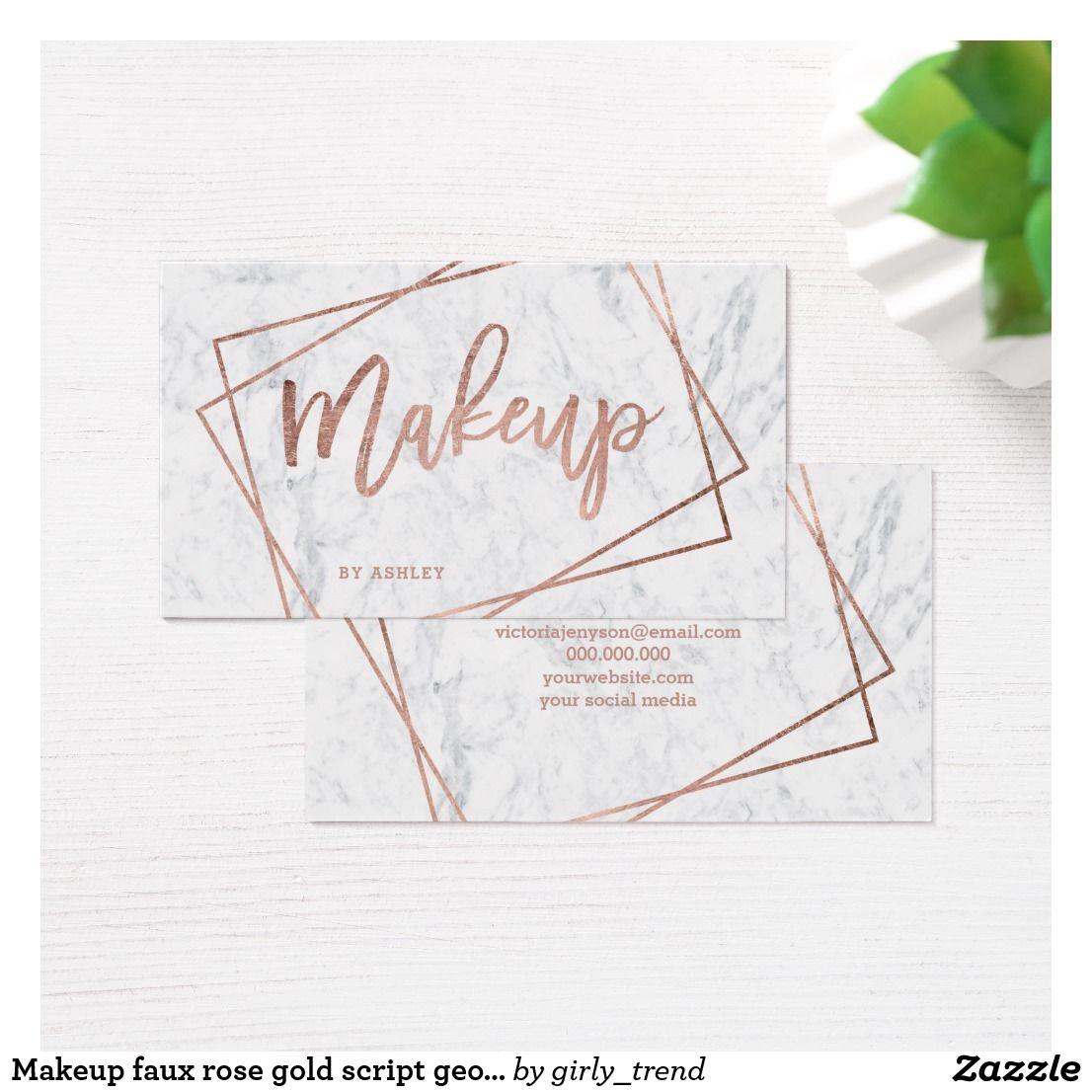 Makeup faux rose gold script geometric marble business card makeup faux rose gold script geometric marble business card reheart Choice Image