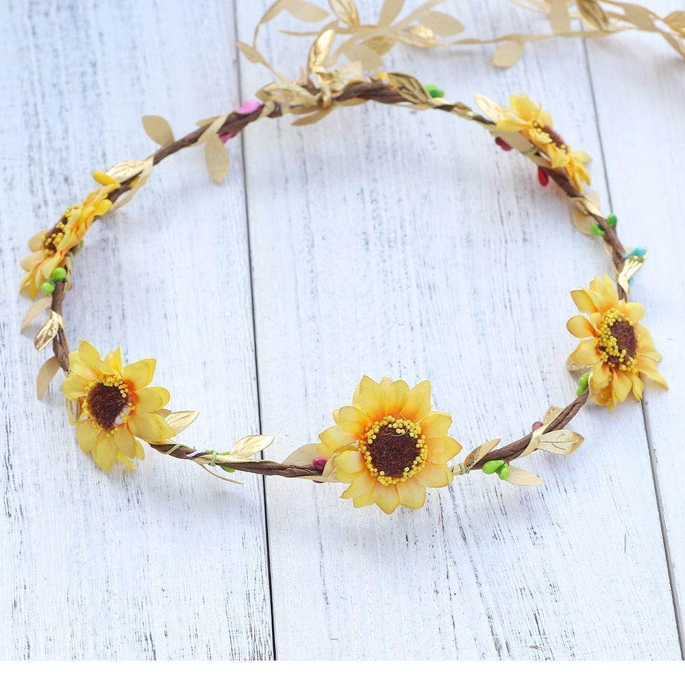 Sunflower Flower Crown Artificial Flowers Head Wreath Headpiece Wedding Hair Acc...#acc #artificial #crown #flower #flowers #hair #headpiece #sunflower #wedding #wreath #flowerheadwreaths
