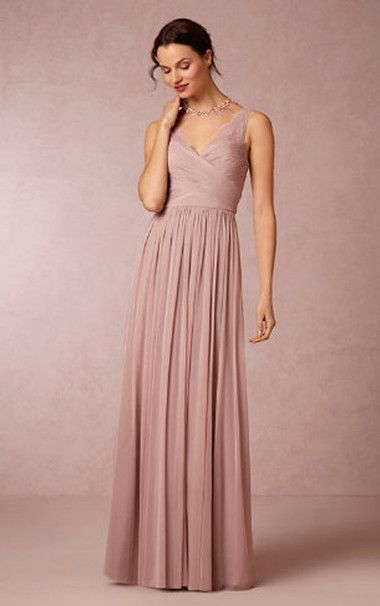 5991b6611880 Column V-Neck Chiffon Long Blush Pink Bridesmaid Dresses UK Online ...