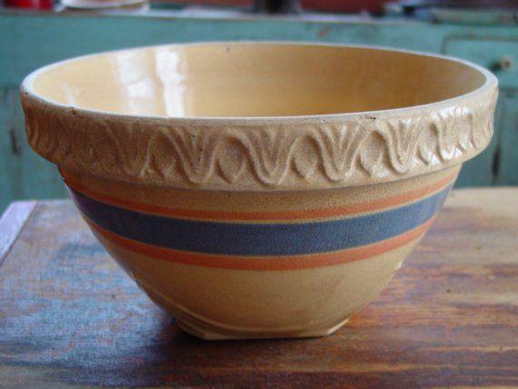 Vintage 9 1\/2 Inch Yellowware Bowl, Yellow Ware Bowl ...