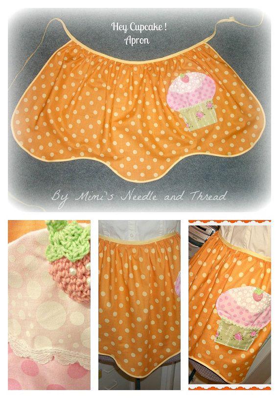 Hey Cupcake handmade apron by mimisneedle on Etsy