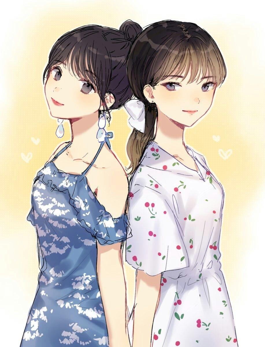Mina And Jeongyeon Gadis Animasi Ilustrasi Karakter Animasi