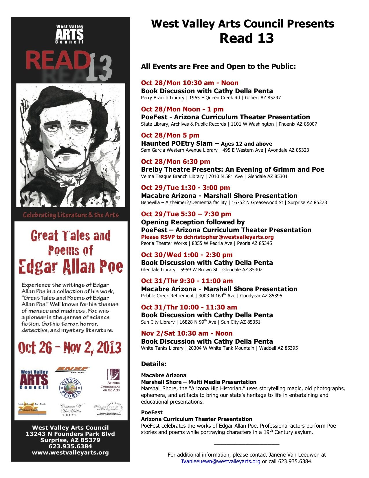 Updated list of WVAC's Read 13 Events: All events are free and open to the public. Contact West Valley Arts Council for more info. 623.935.6384