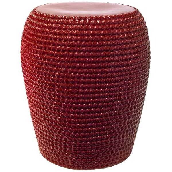 Sagebrook Home Red Ceramic Garden Stool ($100) ❤ Liked On Polyvore  Featuring Home,