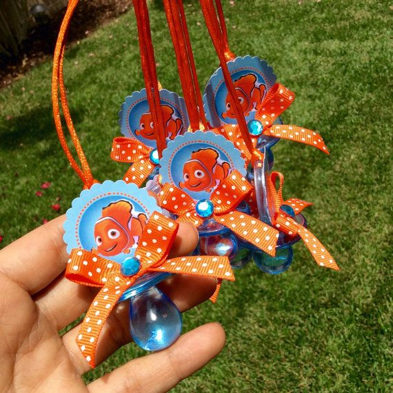 12 Finding Nemo Pacifiers Necklace  Finding Nemo Baby Shower Favors  Boy Baby  Shower  Baby Shower Necklace Game  Nemo Baby Shower