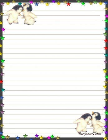 Baby Penguins Free Printable Stationery Printable Stationery Printable Lined Paper