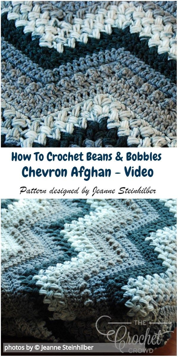 Beans And Bobbles Chevron Afghan Pattern Idea with Video Tutorial #crochetafghan #crochetpatternsfree #howtocrochet #afghanpatterns