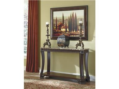 Shop for Signature Design Sofa Table, T705-4, and other Living Room Tables at Kiser Furniture in Abingdon, VA. The Ledelle accent table collection beautifully captures the essence of rich Old World design with the traditional dark cherry stain finish flowing over the ornate detailing elegantly displayed along the legs, feet and apron topped with the sophisticated look of the beveled inserts print marble pattern finished in polyurethane.