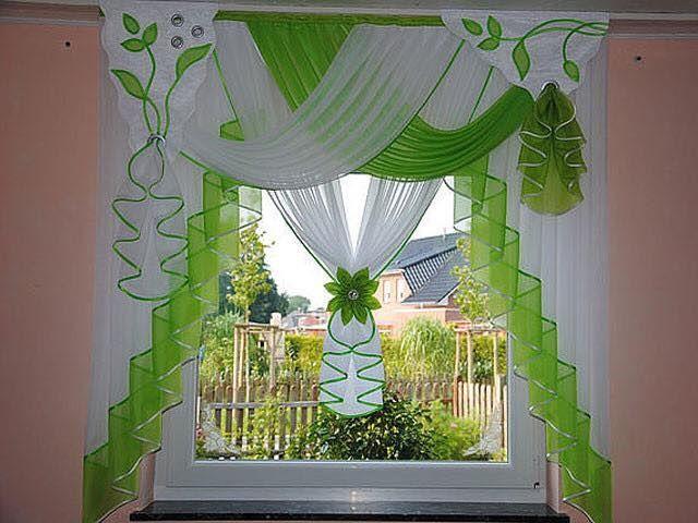 Green N White Curtains.