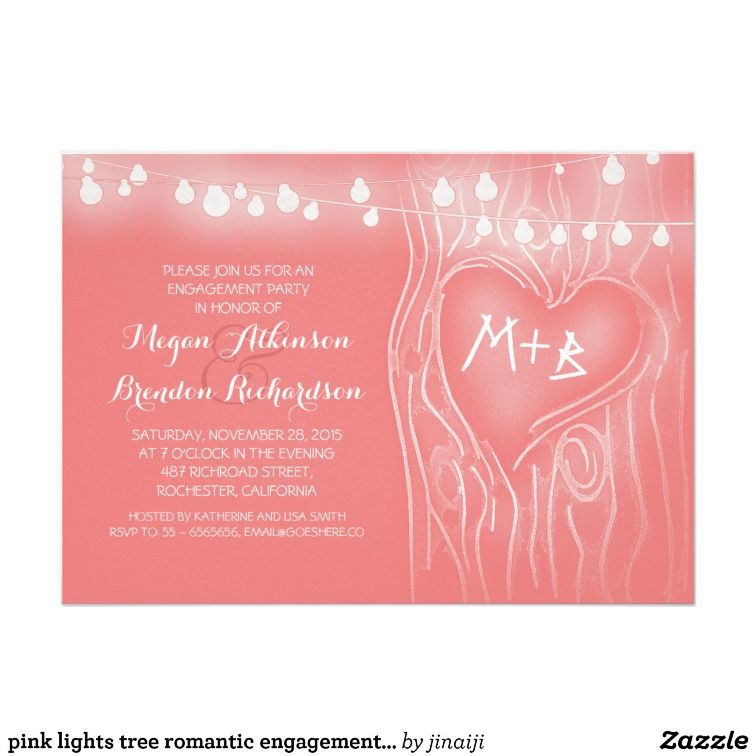 pink lights tree romantic engagement party invitations