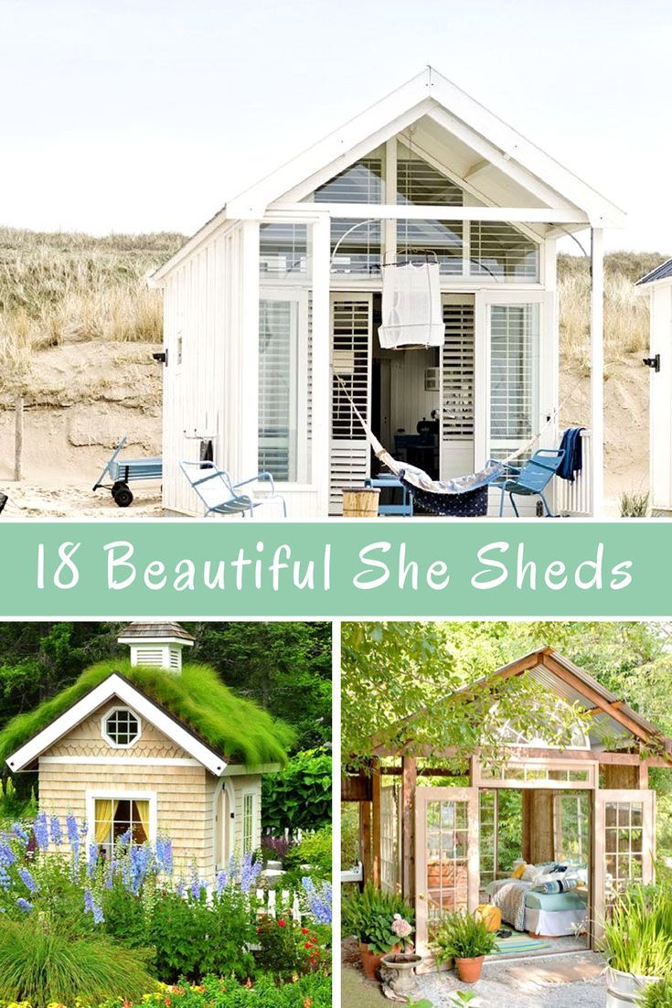 18 Beautiful She Sheds This Is For The Ladies Craft Shed Home Office In A Shed She Shed Inspiration Sheshed Workshed S Shed Homes Craft Shed She Sheds