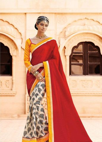 Elegant Red Silk Saree | Veeshack Shop #silk saree #saree #festivalseason